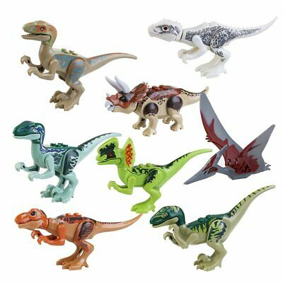 Lot 8 Figurines Petits Dinosaures Jurassic Park Figures Blocks Compatible Lego
