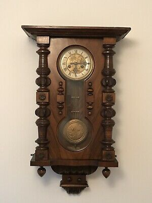 Antique Vienna Wall Clock With Rose Detail