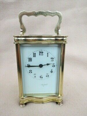 Antique R & Co Paris Serpentine Brass Carriage Clock For Spares Or Repair