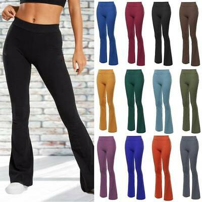 Womens Boot Cut Flared Yoga Pants Trousers Solid Bootleg Loose Workout Fitness A