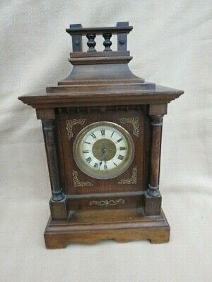 Antique German Striking Alarm Mini Bracket Clock For Spares Or Repair
