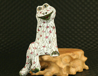 collectable old Chinese cloisonne hand paint frog statue table Home deco gift