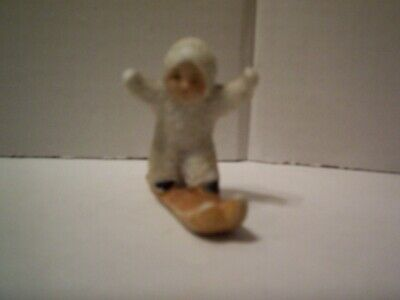 Antique/Vintage Bisque Snowbaby Standing on Skis, Marked Germany