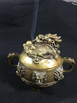 Chinese Folk Collection Copper dragon Brass Statue Incense Burner