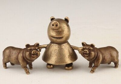 3 Retro China Bronze Statue Solid Pig Mascot Decorate Old Collection Gift