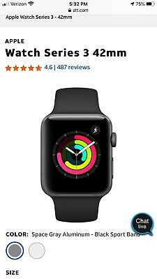 Apple Series 3 Space Gray 42mm GPS/Cellular Watch -3 bands!