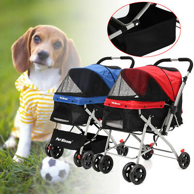 Foldable Dog Puppy Cat Pet Stroller Pushchair Pram Jogger Buggy 4 Swivel Wheels