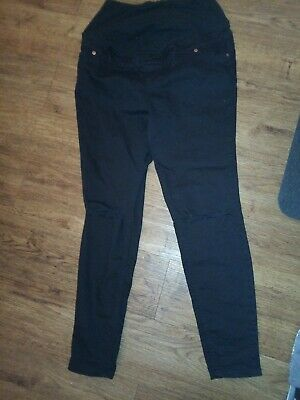 Maternity Black Jeggings Jeans Size 12S New Look Over Bump Emilee ripped knee