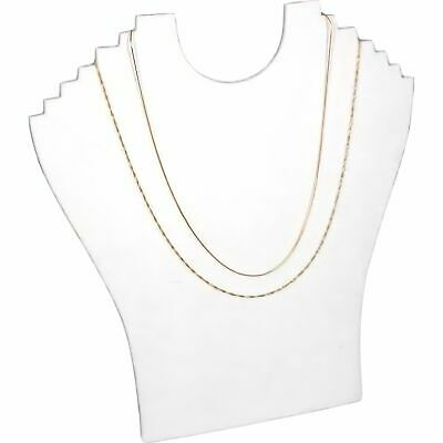 "8/""Hx7/""W WHITE LEATHER JEWELRY DISPLAY BUST STAND NECKLACE CHAIN JA10W1"