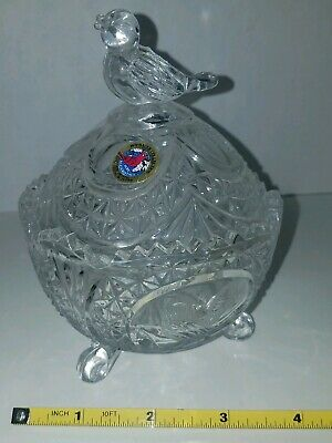 Hofbauer The Byrdes Crystal Footed Candy Dish Fantastic condition Stickered