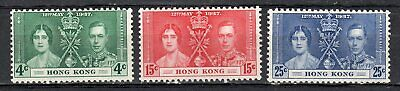 Hong Kong 1937, Sg137-139, Coronation Set Of 3, Lmm [Lot A0227]