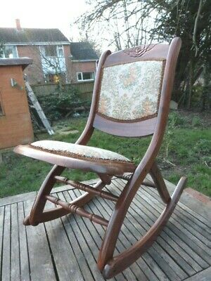 Lovely Antique Victorian Hard Wood Upholstered Fold Up Campaign Rocking Chair.