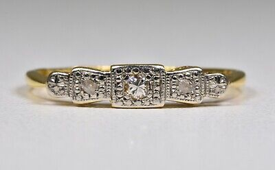 Antique Art Deco 18ct Gold & Platinum Diamond 3 Stone Ring, (1930's)