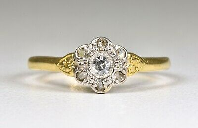 Antique Art Deco 18ct Gold & Platinum Diamond Daisy Ring, (1930's)