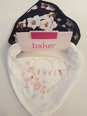 B By Ted Baker Baby Girls Bibs 2 Pack White & Navy Floral Newborn Bnwt