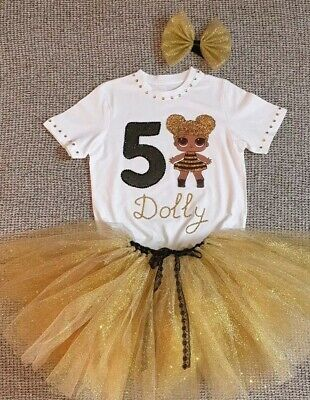 Personalised Birthday Outfit 3 pcs LOL surprise dolls Queen Bee Gold