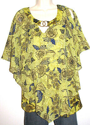 NY Collection Woman Green Floral Butterfly Top w Gold Rings Plus Size 3X