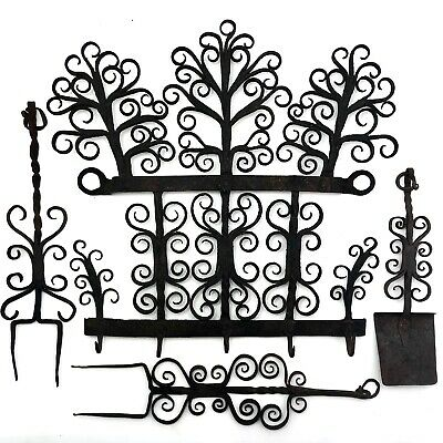 Antique Hand Forged Wrought Iron Heart and Curl Utensils Rack, Roasting Forks an