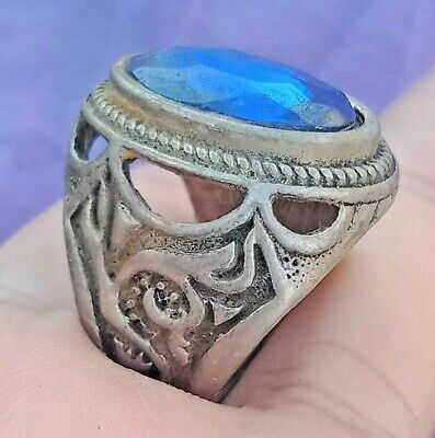Extremely Ancient Viking Ring Metal Color Silver Ring snake Amazing Stone