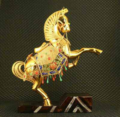 chinese Copper Cloisonne handmade fortune horse statue collectable ornament