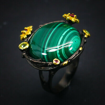 Vintage Antique  Natural Malachite 925 Sterling Silver Ring Size 7.75/R61722
