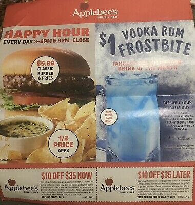 Applebee's Coupons~Valud In southern & Central California-See Description