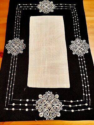 (Set Of 4) 30cm*45cm(Silver/Black)Polyester Linen/Look Placemats