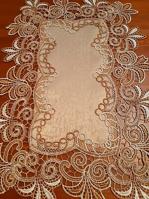 (Set Of 4) 30cm*45cm(White/Camel Lace)Polyester Linen/Look Placemats