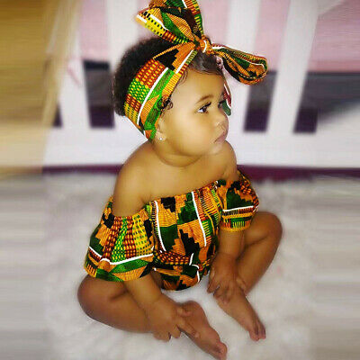 Toddler Baby Girl African Print Off Shoulder Romper+Hair Band Bodysuits Clothes