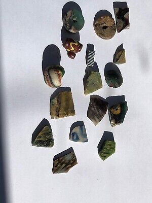 16 Ancient Roman Mosaic Glass Beads with a face bead
