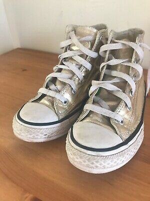 GOLD CONVERSE HI-TOP SIZE 1uk EUR 30 Great Condition