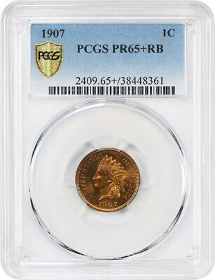 1907 1c PCGS PR 65+ RB - Indian Cent