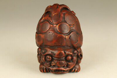 Antique chinese old bamboo root hand carved kylin statue netsuke collectable