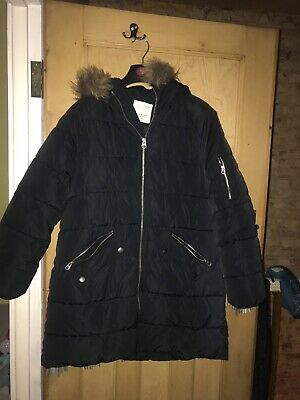 Zara Girls Black puffa Coat Age 13-14 Years