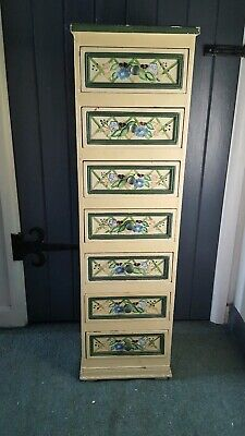 TALL Wooden 6 draw hand painted small bits chest of drawers, jewelry drawers,