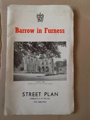 Barrow in Fuirness  Street Plan 1950's (?)  largefold-out Plan/Map with Adverts