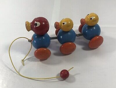 Vintage 3 Duck Wood Pull Toy Walter West Germany Antique Toys Collectible