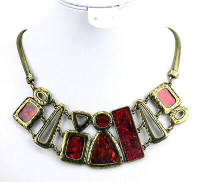 Bold Antique Gold Plate Iridescent Red Orange Enamel Egyptian Revival Necklace