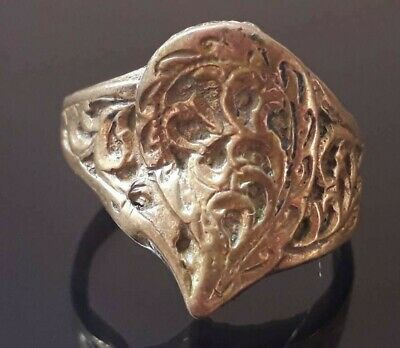 Ancient Bronze Viking Ring Unique Old Quality Nordic Methodology Antique Rare