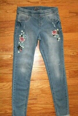 Justice Girls' Size 10 Mid Rise Leggings - Pull On Jean Stye with Flowers & More