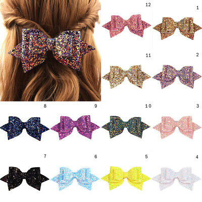 Girl Bowknot Princess Hairgrips Glitter Bow Hair Clip Shiny Charm Girls Hairpins