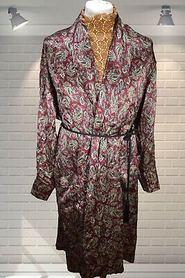 Quality Vintage 1990s Dandy Gents Paisley 100% Silk Dressing Gown Robe XL