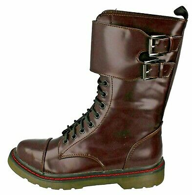 BNWB Ladies Girls Burgundy Red Military Style Lace Up Mid Calf Boots-UK 5/EU 38