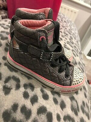 Girls Skechers Size 10.5 Twinkle Toes Light Up High Top Trainers