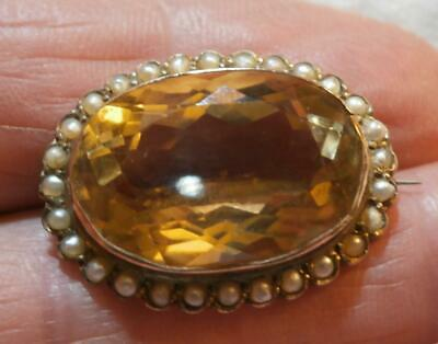 Fine Edwardian 9Ct Gold Citrine & Seed Pearl Brooch