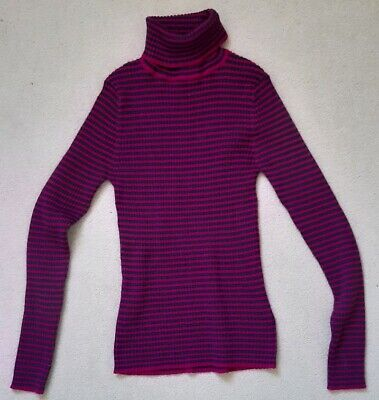 Girls Next pink striped roll neck polo neck jumper top age 9 years