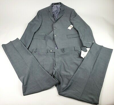 Perry Ellis Men's Two Piece Finished Bottom Slim Fit Suit, Silver, 44 Long 38X34