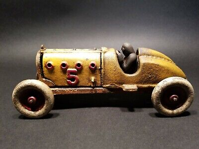 Antique Vintage Style Yellow Cast Iron #5 Toy Race Car w Lifting Hood