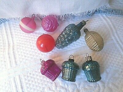 8 Mixed Unsilvered Antique Feather Tree Glass Ornaments Rose Grapes Baskets etc