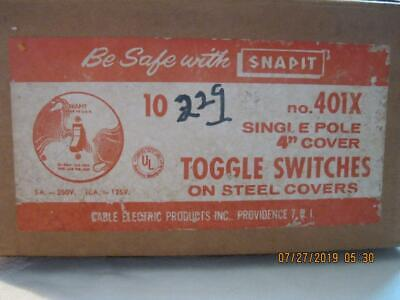 New Old Stock 10 Snapit Levolet Single Pole Bakelite Toggle Switch Steel Covers